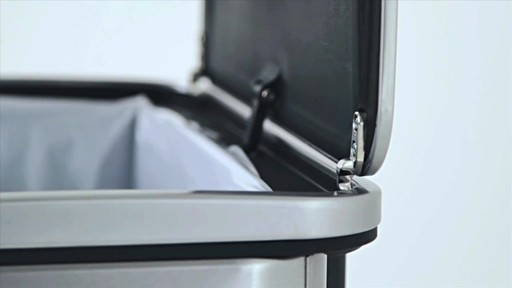 simplehuman® 40-Liter Rectangular Brushed Stainless Steel Sensor Trash Can - image 6 from the video