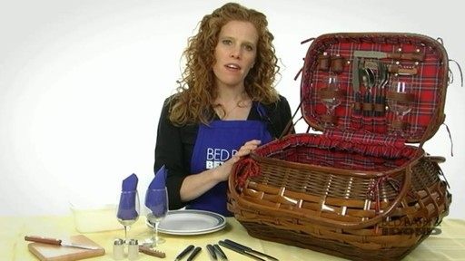 Sandringham Deluxe Red Tartan Picnic Basket  - image 10 from the video
