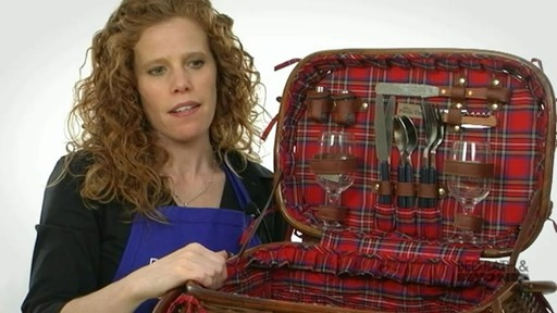 Sandringham Deluxe Red Tartan Picnic Basket  - image 3 from the video