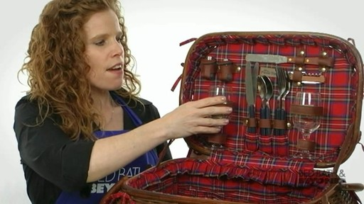 Sandringham Deluxe Red Tartan Picnic Basket  - image 4 from the video