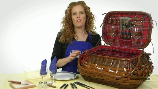 Sandringham Deluxe Red Tartan Picnic Basket  - image 9 from the video