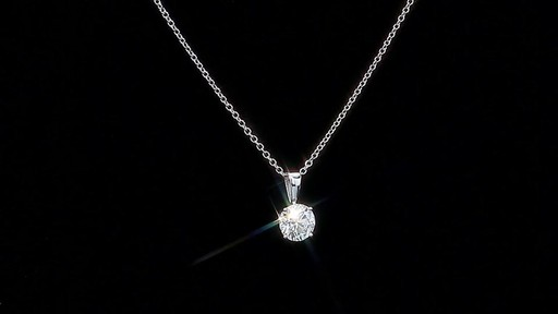 Round Brilliant Diamond Solitaire Necklace (1.00 ct) 18kt White Gold - image 1 from the video