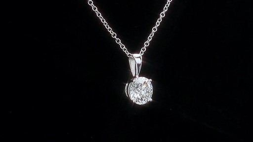 Round Brilliant Diamond Solitaire Necklace (1.00 ct) 18kt White Gold - image 2 from the video