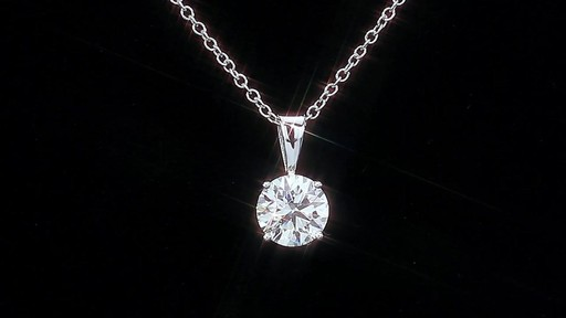 Round Brilliant Diamond Solitaire Necklace (1.00 ct) 18kt White Gold - image 3 from the video