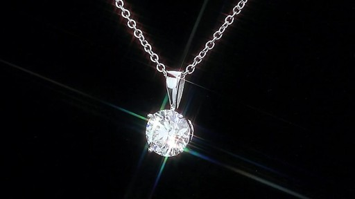 Round Brilliant Diamond Solitaire Necklace (1.00 ct) 18kt White Gold - image 4 from the video