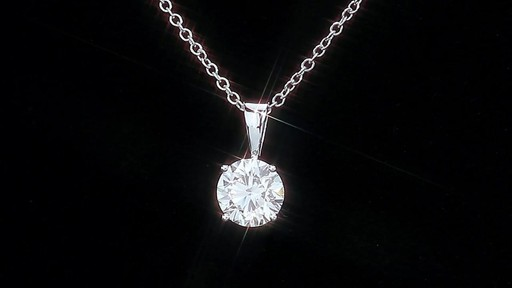 Round Brilliant Diamond Solitaire Necklace (1.00 ct) 18kt White Gold - image 6 from the video