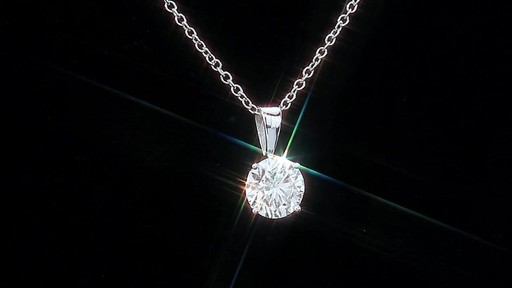 Round Brilliant Diamond Solitaire Necklace (1.00 ct) 18kt White Gold - image 7 from the video