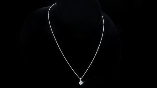 Round Brilliant Diamond Solitaire Necklace (1.00 ct) 18kt White Gold - image 9 from the video