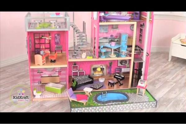 Kidkraft Luxury Uptown Mansion Dollhouse 35 Pc Of Furniture