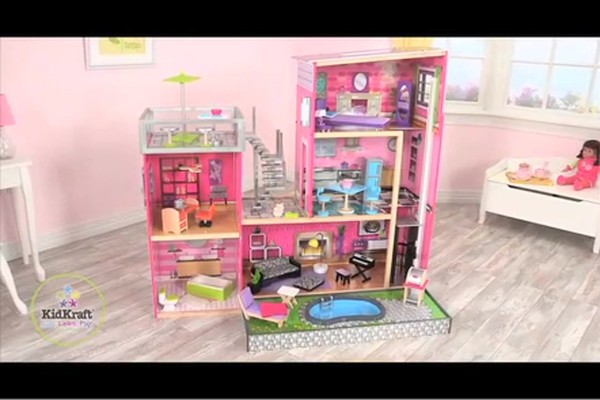 KidKraft Luxury Uptown Mansion Dollhouse, 35-pc of Furniture - image 10 from the video