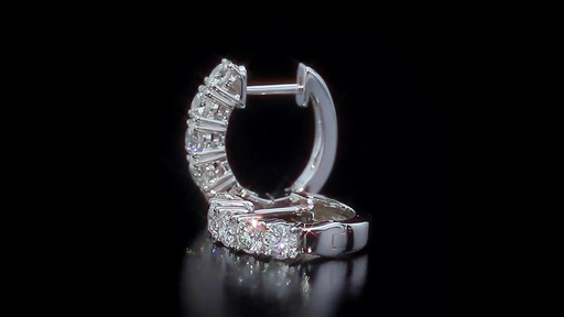 Round Brilliant Diamond Hoop Earring 14kt White Gold Image 7 From The Video
