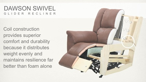Dawson Swivel Glider Recliner - image 6 from the video