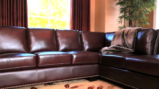 Encore Top Grain Leather Sectional And Ottoman 187 Welcome