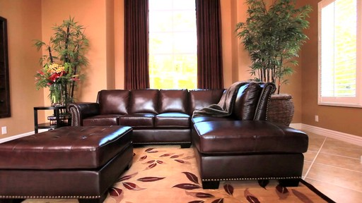 Encore Top Grain Leather Sectional and Ottoman - image 5 from the video : nouveau top grain leather sectional - Sectionals, Sofas & Couches