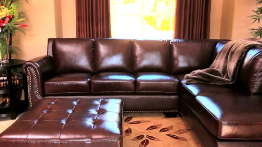 Encore Top Grain Leather Sectional and Ottoman - image 7 from the video
