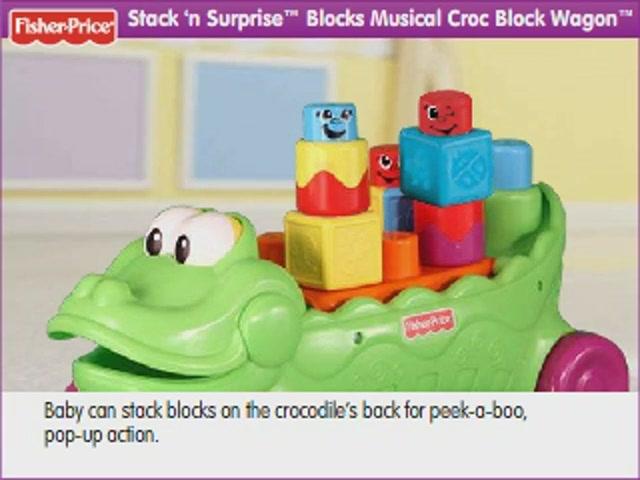 Fisher Price Stack N Surprise Musical Croc Block Wagon
