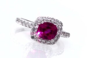 Cushion Cut Lab Created Ruby And White Sapphire Ring In