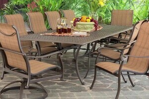 Saratoga 11 Piece Sling Patio Dining Collection Welcome To Costco Wholesale