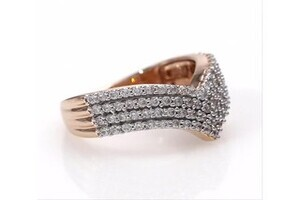 Diamond Zigzag Fashion Ring Stackable Band Style 1//10ct 10k Rose Gold